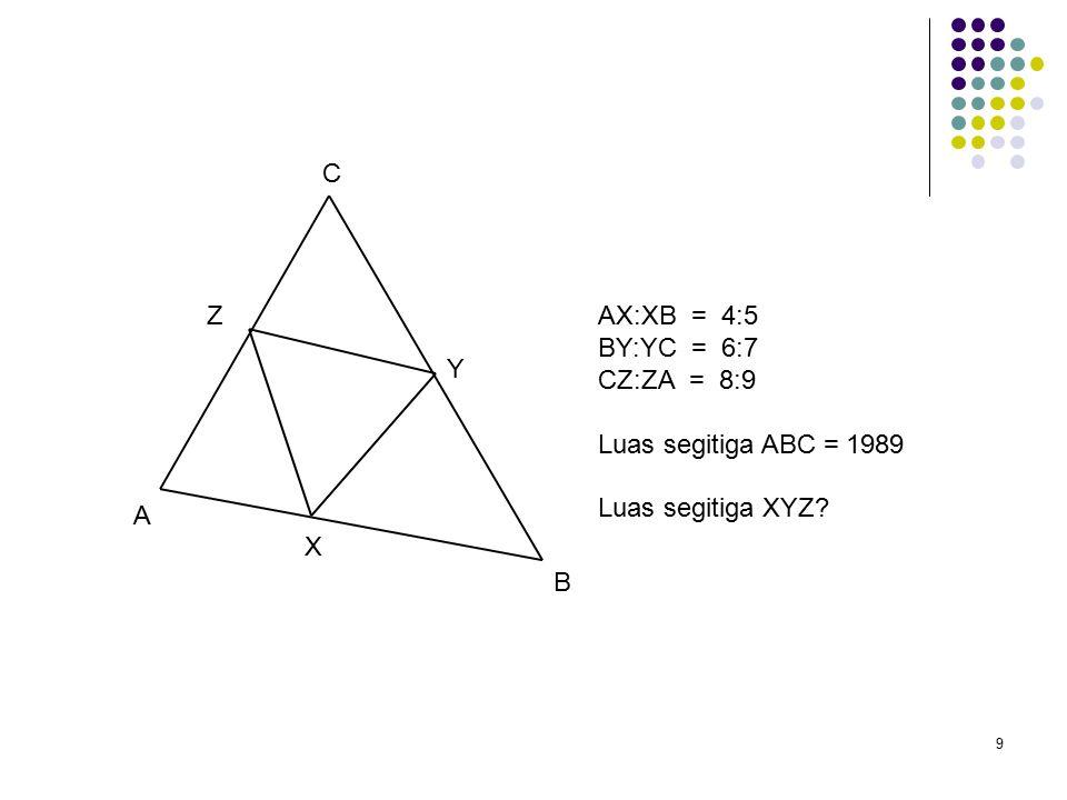 9 A B C X Y ZAX:XB = 4:5 BY:YC = 6:7 CZ:ZA = 8:9 Luas segitiga ABC = 1989 Luas segitiga XYZ