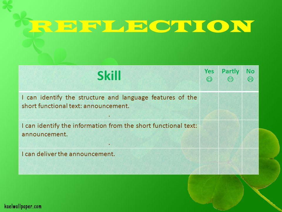 REFLECTION Skill Yes Partly  No  I can identify the structure and language features of the short functional text: announcement..