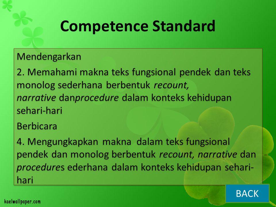 Competence Standard Mendengarkan 2. Memahami makna teks fungsional pendek dan teks monolog sederhana berbentuk recount, narrative danprocedure dalam k