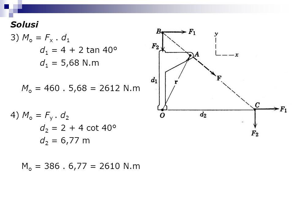 Solusi 3) M o = F x. d 1 d 1 = 4 + 2 tan 40° d 1 = 5,68 N.m M o = 460. 5,68 = 2612 N.m 4) M o = F y. d 2 d 2 = 2 + 4 cot 40° d 2 = 6,77 m M o = 386. 6