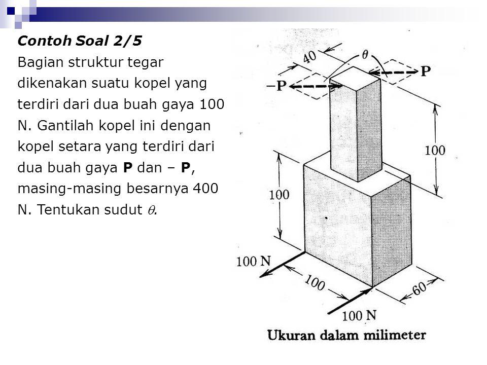 Contoh Soal 2/5 Bagian struktur tegar dikenakan suatu kopel yang terdiri dari dua buah gaya 100 N. Gantilah kopel ini dengan kopel setara yang terdiri
