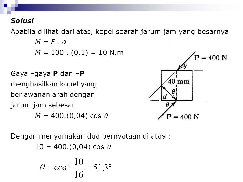 Solusi Apabila dilihat dari atas, kopel searah jarum jam yang besarnya M = F. d M = 100. (0,1) = 10 N.m Gaya –gaya P dan –P menghasilkan kopel yang be
