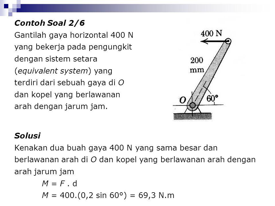 Contoh Soal 2/6 Gantilah gaya horizontal 400 N yang bekerja pada pengungkit dengan sistem setara (equivalent system) yang terdiri dari sebuah gaya di
