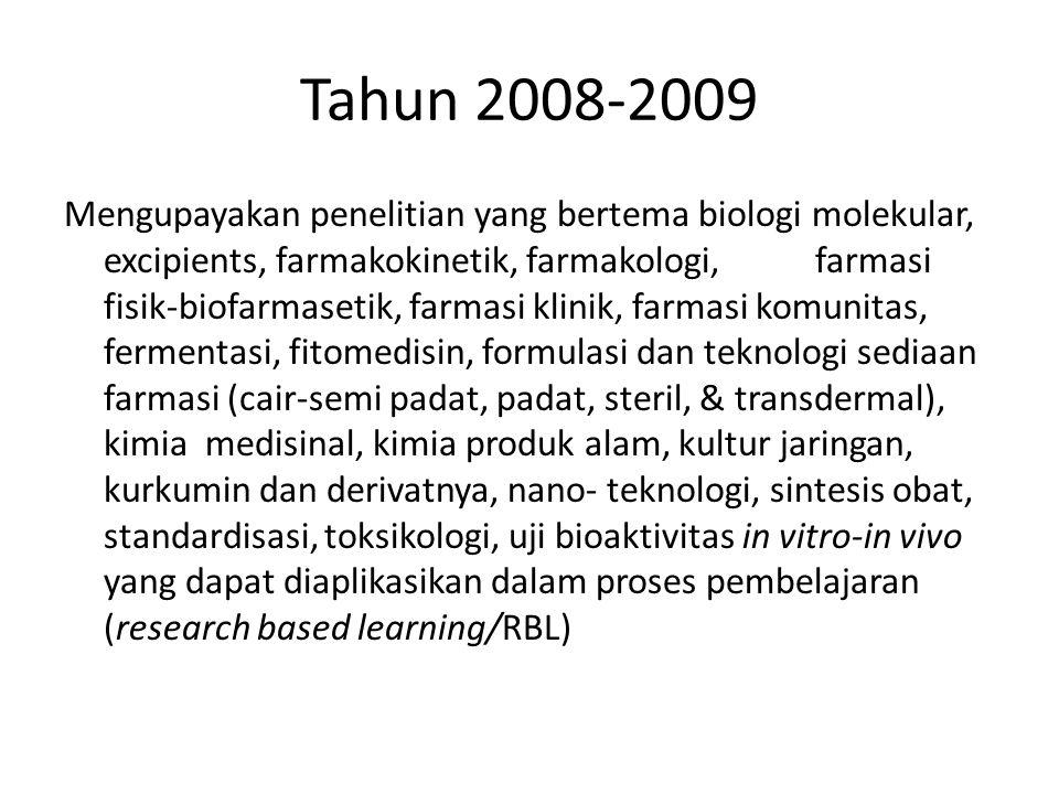 Tahun 2008-2009 Mengupayakan penelitian yang bertema biologi molekular, excipients, farmakokinetik, farmakologi, farmasi fisik-biofarmasetik, farmasi
