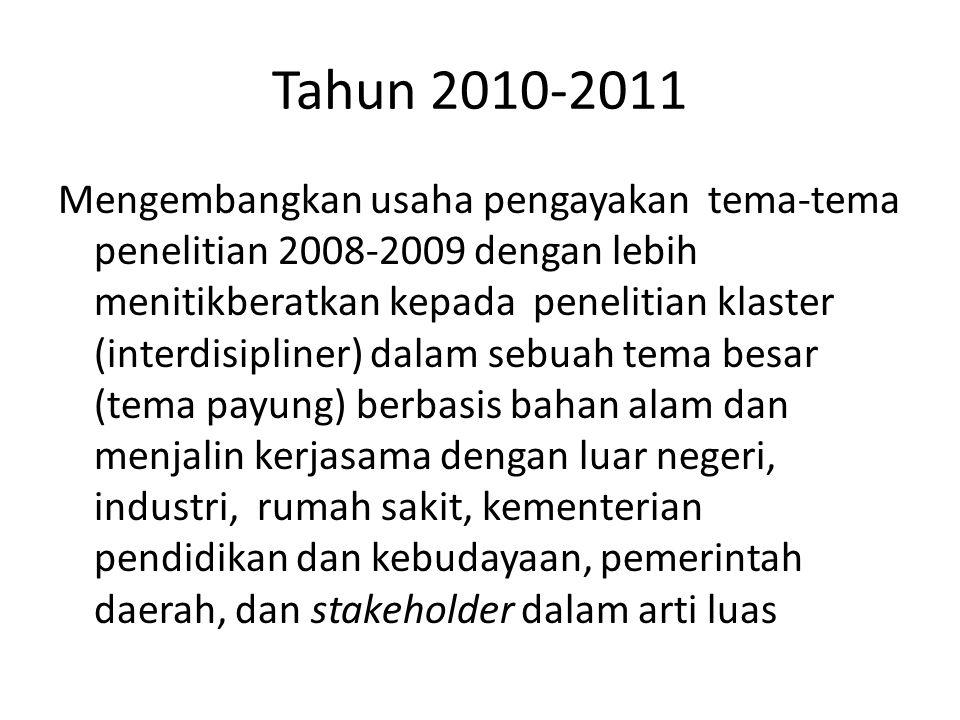 Tahun 2010-2011 Mengembangkan usaha pengayakan tema-tema penelitian 2008-2009 dengan lebih menitikberatkan kepada penelitian klaster (interdisipliner)