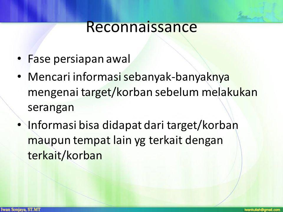 Reconnaissance Fase persiapan awal Mencari informasi sebanyak-banyaknya mengenai target/korban sebelum melakukan serangan Informasi bisa didapat dari
