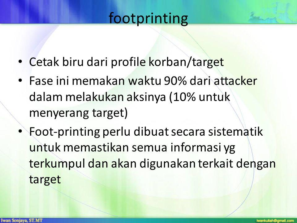 footprinting Cetak biru dari profile korban/target Fase ini memakan waktu 90% dari attacker dalam melakukan aksinya (10% untuk menyerang target) Foot-