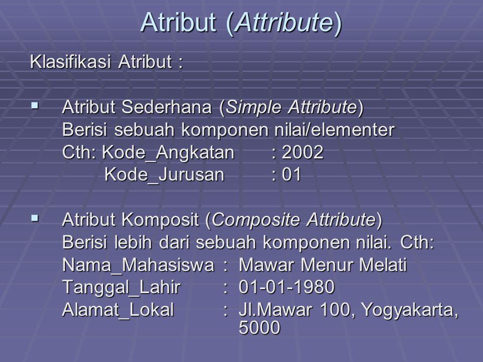 Atribut (Attribute) Klasifikasi Atribut :  Atribut Sederhana (Simple Attribute) Berisi sebuah komponen nilai/elementer Cth: Kode_Angkatan: 2002 Kode_