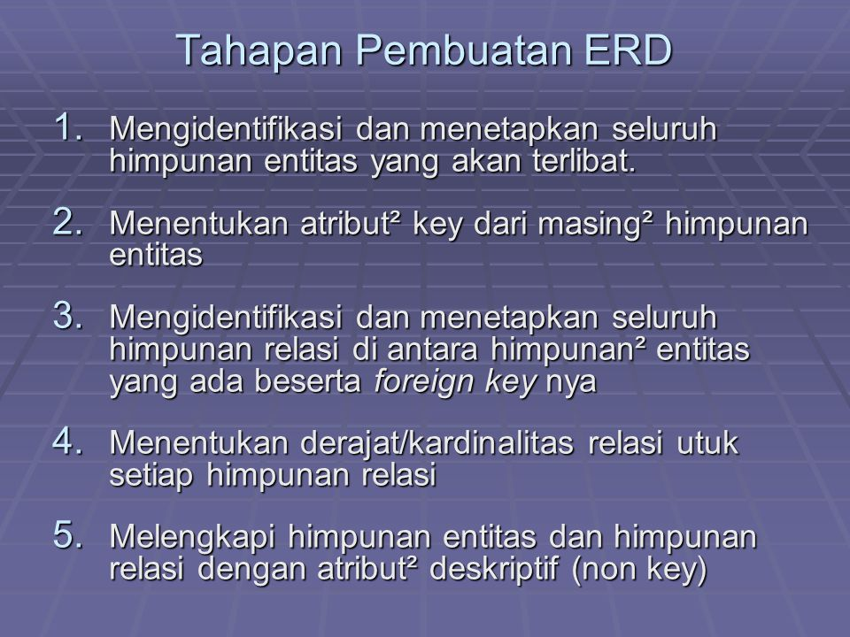 Tahapan Pembuatan ERD 1. Mengidentifikasi dan menetapkan seluruh himpunan entitas yang akan terlibat. 2. Menentukan atribut² key dari masing² himpunan