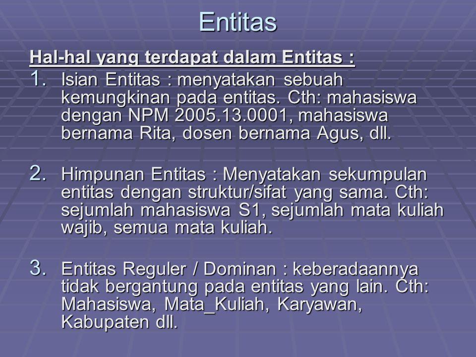 Entitas Hal-hal yang terdapat dalam Entitas : 1. Isian Entitas : menyatakan sebuah kemungkinan pada entitas. Cth: mahasiswa dengan NPM 2005.13.0001, m