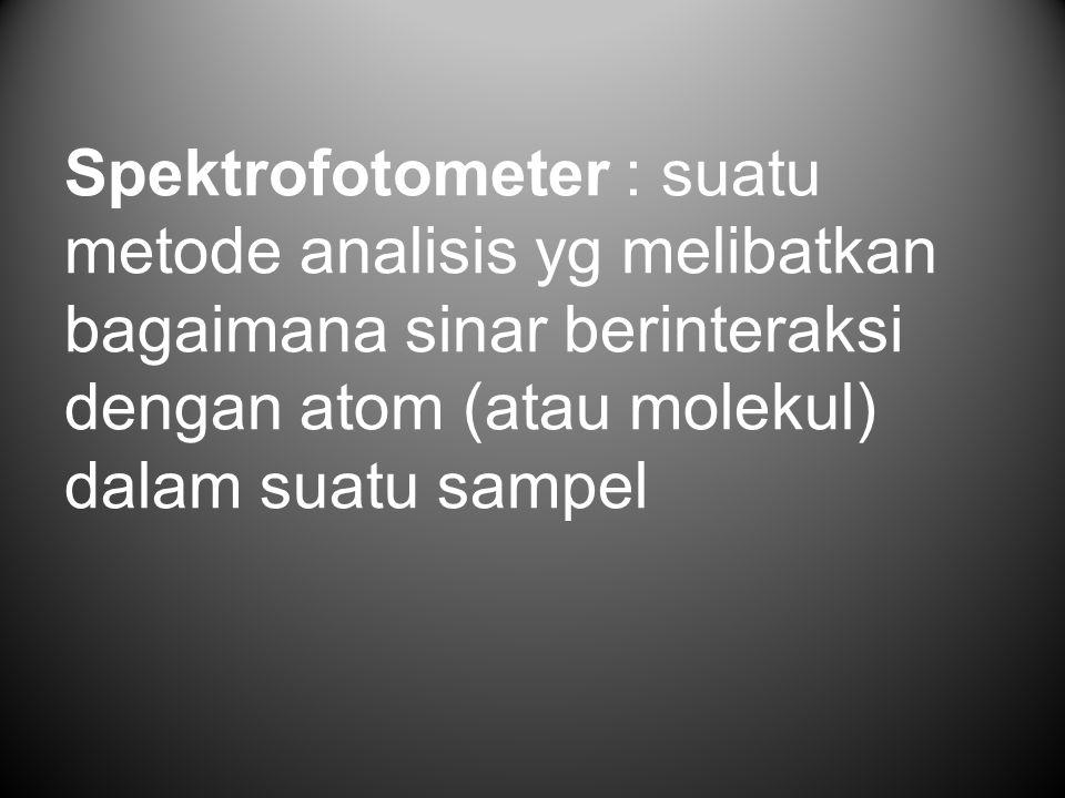 Spektrofotometer : suatu metode analisis yg melibatkan bagaimana sinar berinteraksi dengan atom (atau molekul) dalam suatu sampel