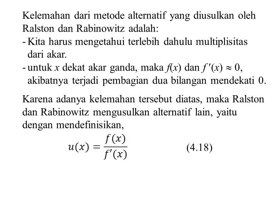 u(x) dan f (x) mempunyai akar yang sama, karena dari persamaan (4.18) jika f (x) = 0, maka u(x) juga = 0, sehingga, (4.19) Sustitusi persamaan (4.19) ke persamaan (4.12) didapat (4.20) Dari persamaan (4.18) didapat (4.21)