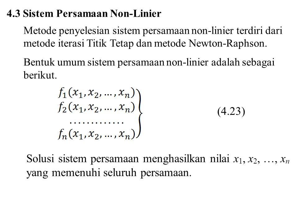 a) Metode Iterasi Titik Tetap Prosedur iterasi titik tetap untuk sistem persamaan linier yang terdiri dari, misalnya, 3 persamaan adalah Metode iterasi titik tetap seperti pada persamaan (4.24) disebut metode Jacobi.