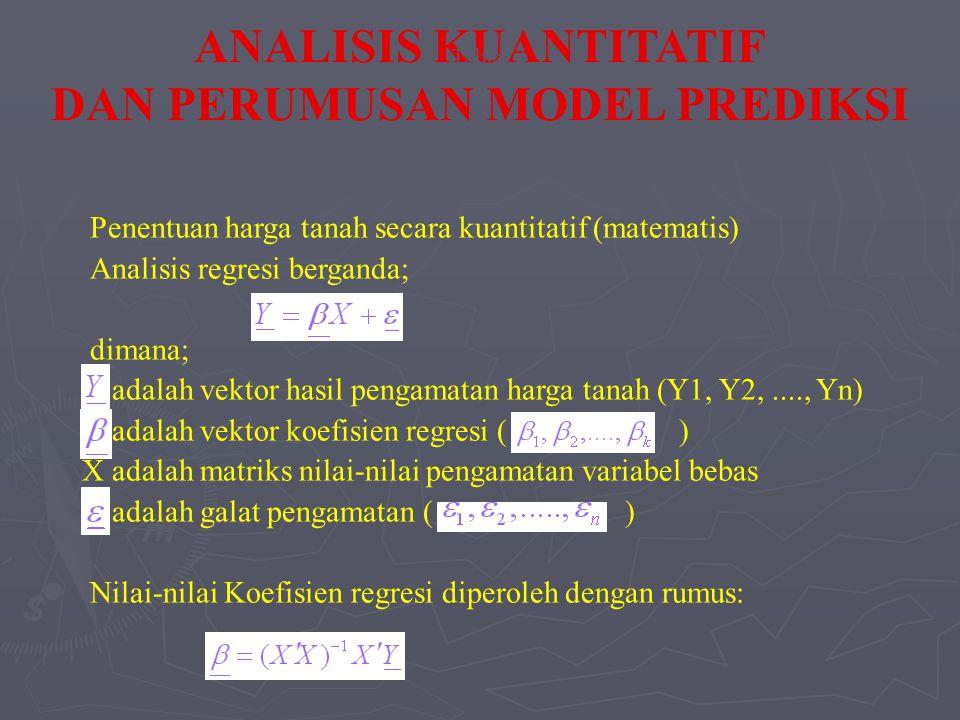 Penentuan harga tanah secara kuantitatif (matematis) Analisis regresi berganda; dimana; adalah vektor hasil pengamatan harga tanah (Y1, Y2,...., Yn) adalah vektor koefisien regresi ( ) X adalah matriks nilai-nilai pengamatan variabel bebas adalah galat pengamatan ( ) Nilai-nilai Koefisien regresi diperoleh dengan rumus: ANALISIS KUANTITATIF DAN PERUMUSAN MODEL PREDIKSI Tahap 3