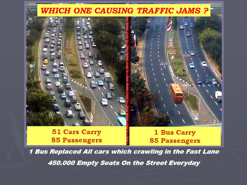 1 Bus Replaced All cars which crawling in the Fast Lane 450.000 Empty Seats On the Street Everyday 1 Bus Replaced All cars which crawling in the Fast Lane 450.000 Empty Seats On the Street Everyday WHICH ONE CAUSING TRAFFIC JAMS .