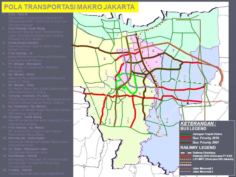 1.Kota – Blok M Gajah Mada/ Hayam Wuruk-Majapahit-M. Merdeka Barat-MH. Thamrin-jend. Sudirman- Sisingamangaraja 2.Pulo Gebang-Tanah Abang Komarudin-Be