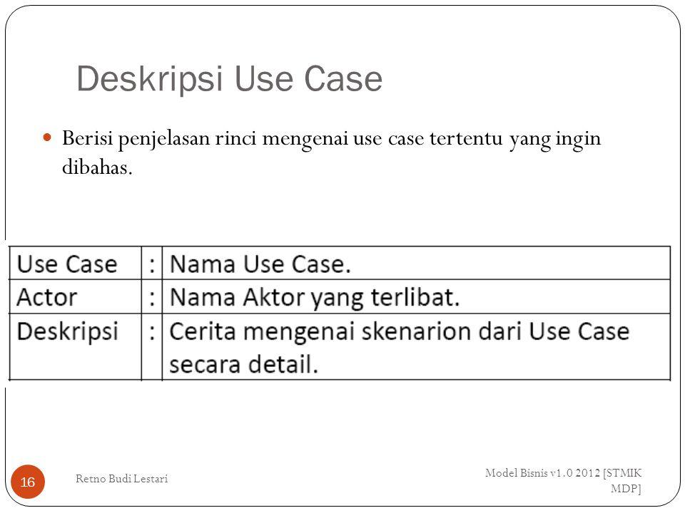 Deskripsi Use Case Model Bisnis v1.0 2012 [STMIK MDP] Retno Budi Lestari 16 Berisi penjelasan rinci mengenai use case tertentu yang ingin dibahas.