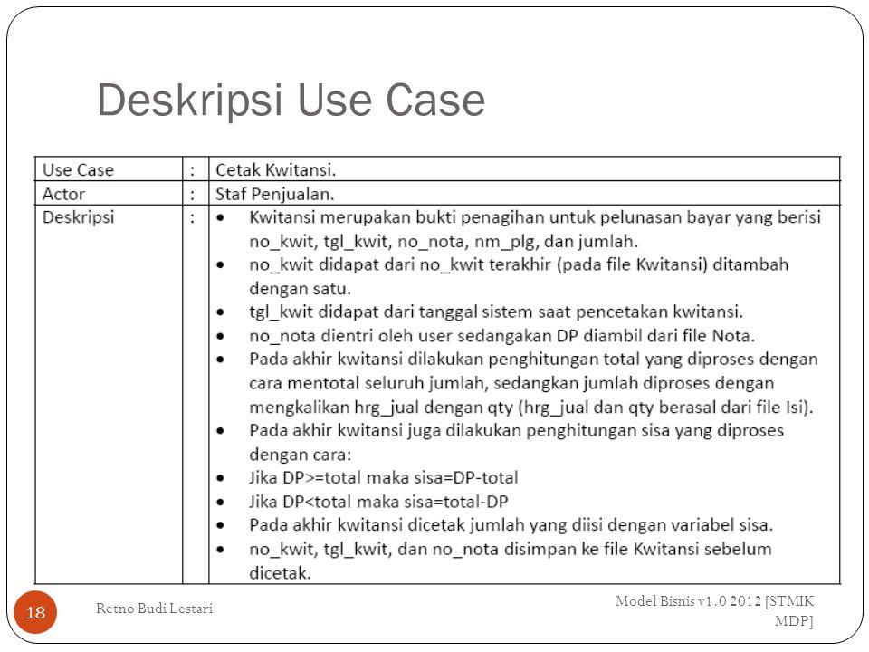 Deskripsi Use Case Model Bisnis v1.0 2012 [STMIK MDP] Retno Budi Lestari 18