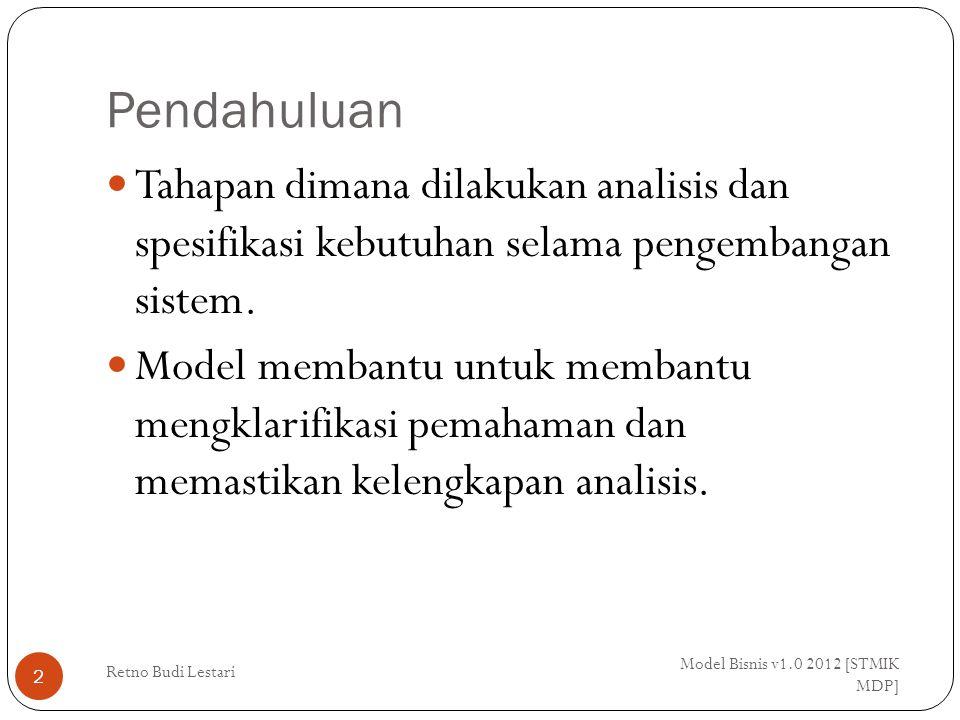 Pendahuluan Model Bisnis v1.0 2012 [STMIK MDP] Retno Budi Lestari 2 Tahapan dimana dilakukan analisis dan spesifikasi kebutuhan selama pengembangan sistem.
