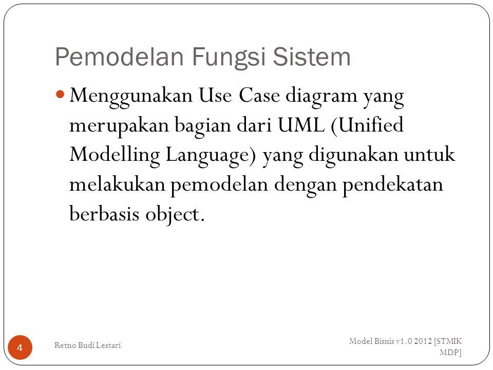 Pemodelan Fungsi Sistem Model Bisnis v1.0 2012 [STMIK MDP] Retno Budi Lestari 4 Menggunakan Use Case diagram yang merupakan bagian dari UML (Unified Modelling Language) yang digunakan untuk melakukan pemodelan dengan pendekatan berbasis object.
