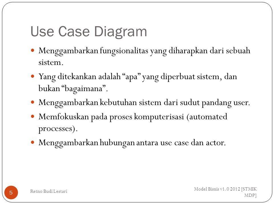 Use Case Diagram Model Bisnis v1.0 2012 [STMIK MDP] Retno Budi Lestari 6 Use case menggambarkan proses sistem (kebutuhan sistem dari sudut pandang user) Secara umum use case adalah: Pola perilaku system Urutan transaksi yang berhubungan yang dilakukan oleh satu actor Use case diagram terdiri dari Use case Actors Relationship System boundary boxes (optional) Packages (optional)