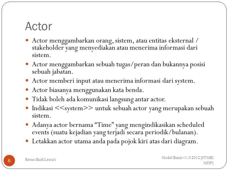 Actor Model Bisnis v1.0 2012 [STMIK MDP] Retno Budi Lestari 8 Actor menggambarkan orang, sistem, atau entitas eksternal / stakeholder yang menyediakan atau menerima informasi dari sistem.