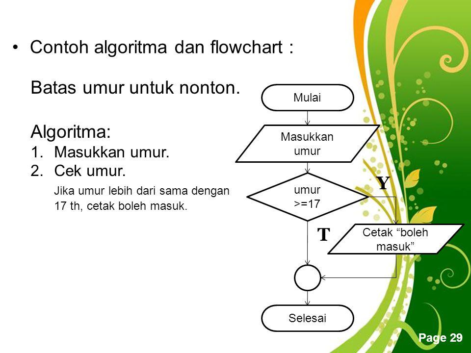 Free Powerpoint Templates Page 29 Contoh algoritma dan flowchart : Batas umur untuk nonton.