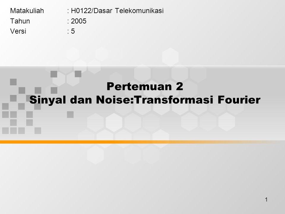 2 Learning Outcomes Pada akhir pertemuan ini, diharapkan mahasiswa akan mampu : Mahasiswa dapat Menjelaskan sinyal dengan transformasi Fourier dan sumber serta jenis noisenya