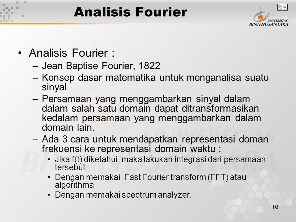 10 Analisis Fourier : –Jean Baptise Fourier, 1822 –Konsep dasar matematika untuk menganalisa suatu sinyal –Persamaan yang menggambarkan sinyal dalam d