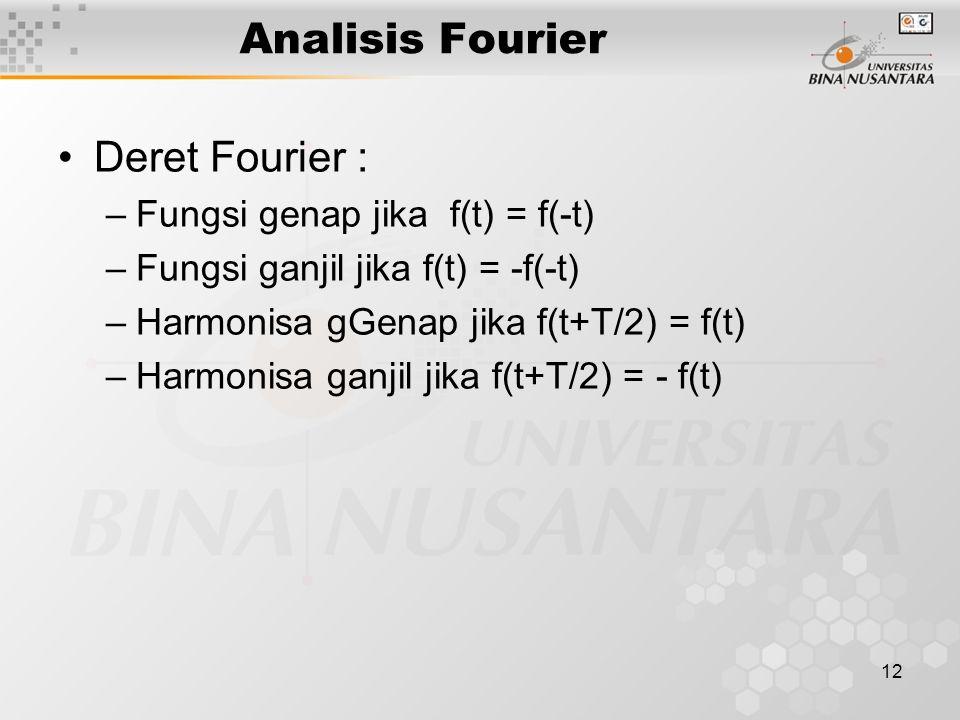 12 Analisis Fourier Deret Fourier : –Fungsi genap jika f(t) = f(-t) –Fungsi ganjil jika f(t) = -f(-t) –Harmonisa gGenap jika f(t+T/2) = f(t) –Harmonis