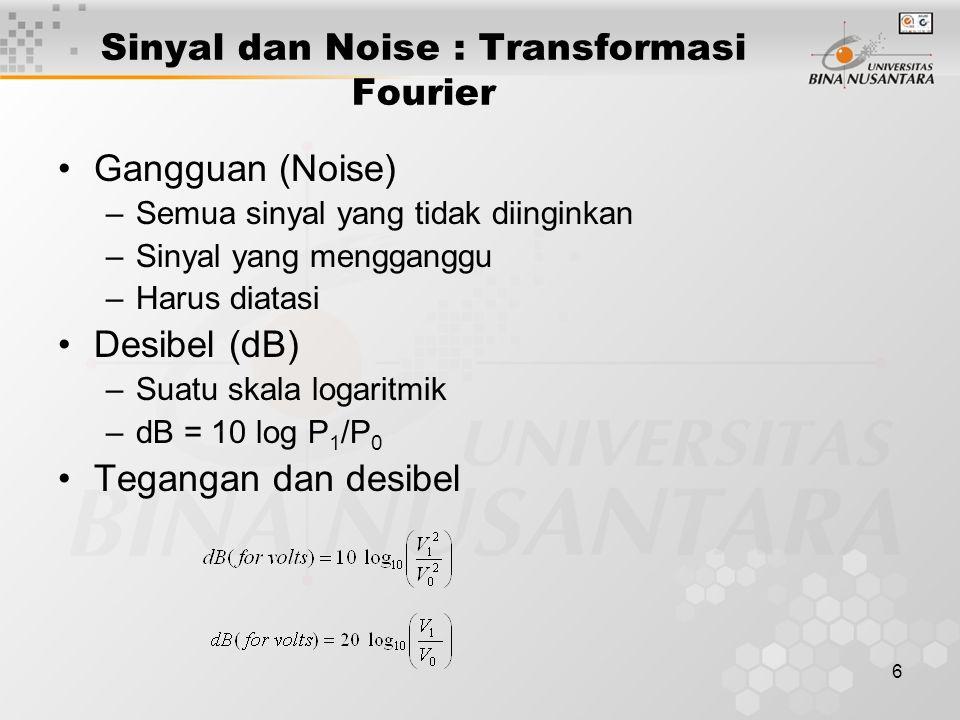 6 Gangguan (Noise) –Semua sinyal yang tidak diinginkan –Sinyal yang mengganggu –Harus diatasi Desibel (dB) –Suatu skala logaritmik –dB = 10 log P 1 /P