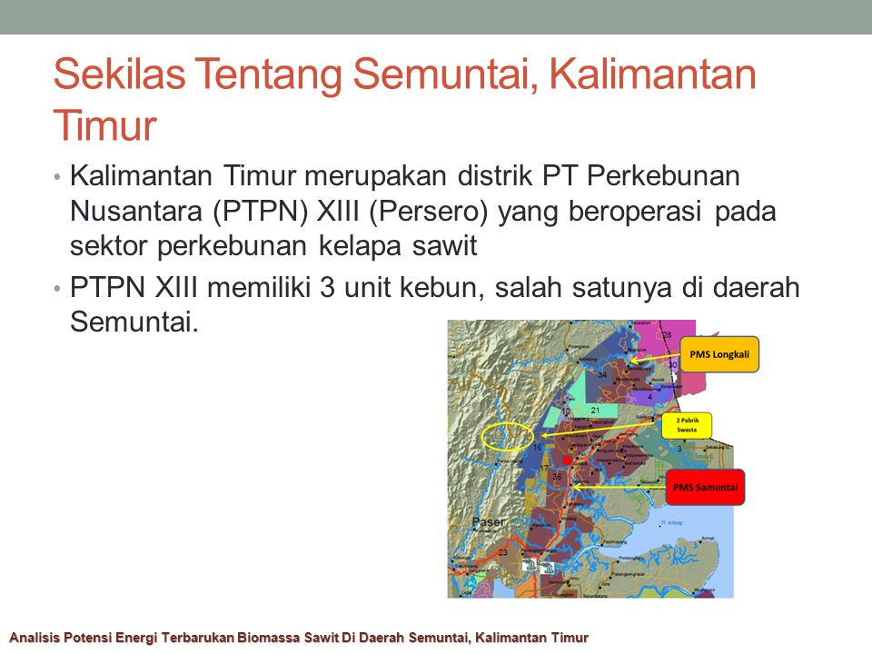 Sekilas Tentang Semuntai, Kalimantan Timur Kalimantan Timur merupakan distrik PT Perkebunan Nusantara (PTPN) XIII (Persero) yang beroperasi pada sektor perkebunan kelapa sawit PTPN XIII memiliki 3 unit kebun, salah satunya di daerah Semuntai.