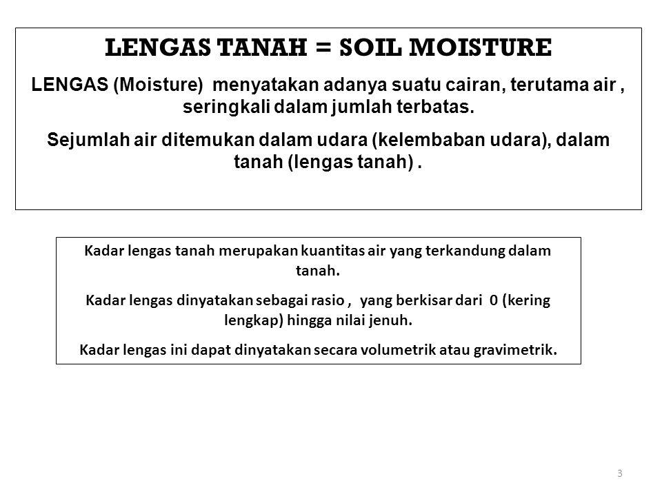 3 LENGAS TANAH = SOIL MOISTURE LENGAS (Moisture) menyatakan adanya suatu cairan, terutama air, seringkali dalam jumlah terbatas.