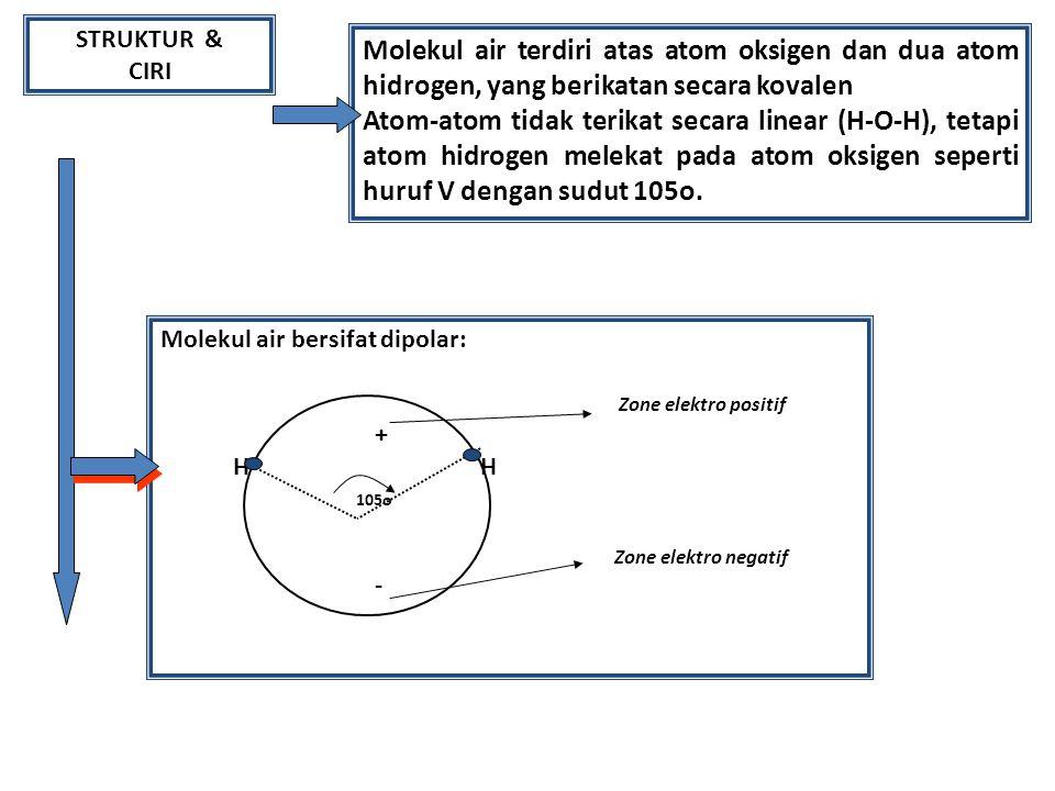 STRUKTUR & CIRI Molekul air terdiri atas atom oksigen dan dua atom hidrogen, yang berikatan secara kovalen Atom-atom tidak terikat secara linear (H-O-H), tetapi atom hidrogen melekat pada atom oksigen seperti huruf V dengan sudut 105o.