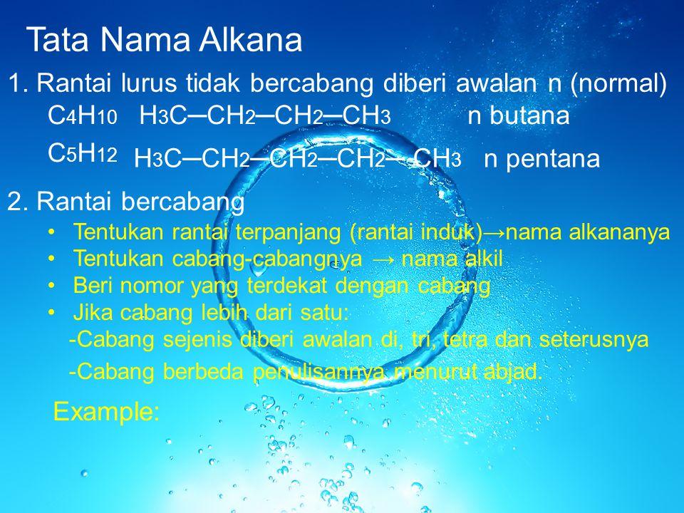 Tata Nama Alkana 1. Rantai lurus tidak bercabang diberi awalan n (normal) C 4 H 10 C 5 H 12 H 3 C─CH 2 ─CH 2 ─CH 3 H 3 C─CH 2 ─CH 2 ─CH 2 ─ CH 3 n but