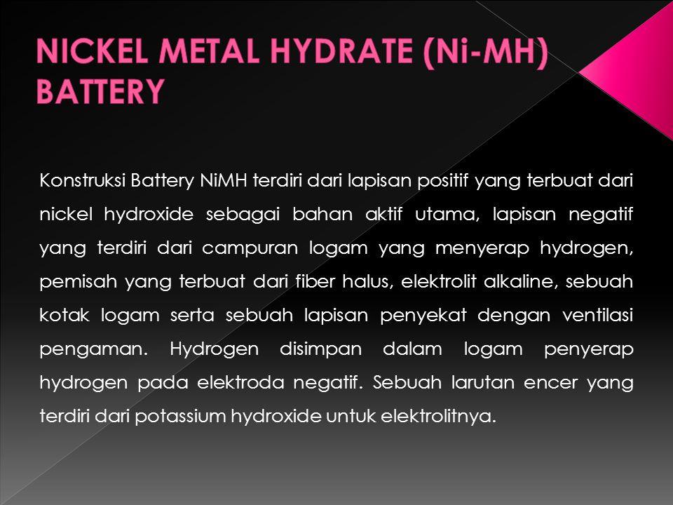 Konstruksi Battery NiMH terdiri dari lapisan positif yang terbuat dari nickel hydroxide sebagai bahan aktif utama, lapisan negatif yang terdiri dari campuran logam yang menyerap hydrogen, pemisah yang terbuat dari fiber halus, elektrolit alkaline, sebuah kotak logam serta sebuah lapisan penyekat dengan ventilasi pengaman.