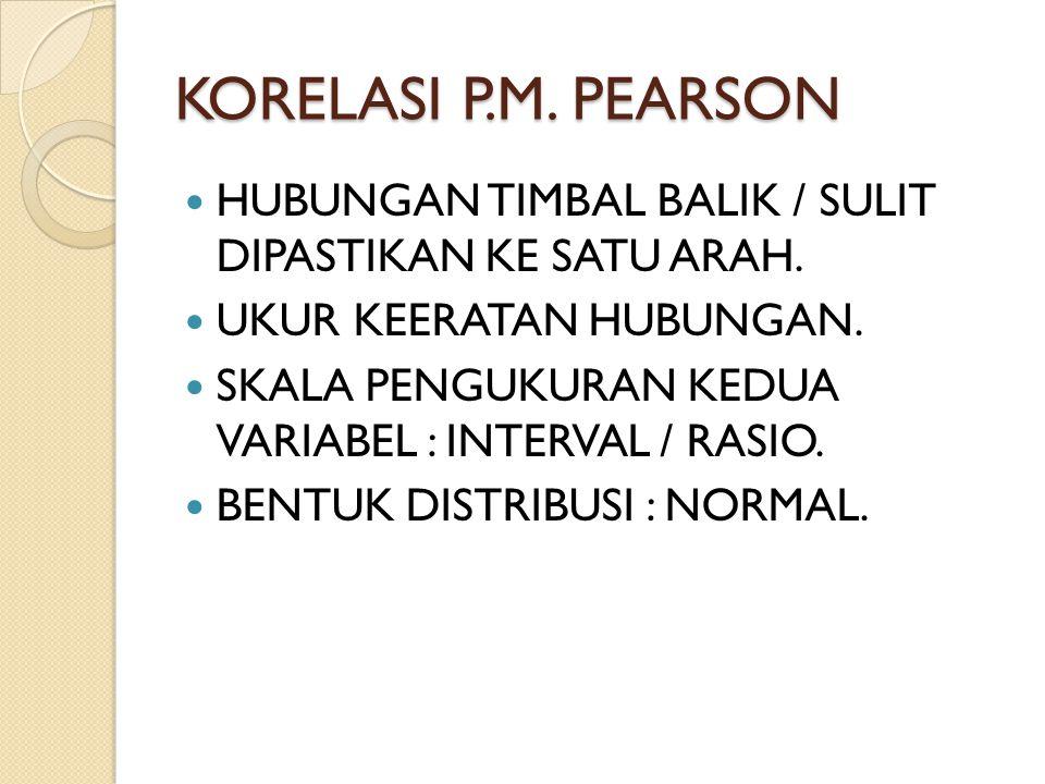 KORELASI P.M. PEARSON HUBUNGAN TIMBAL BALIK / SULIT DIPASTIKAN KE SATU ARAH. UKUR KEERATAN HUBUNGAN. SKALA PENGUKURAN KEDUA VARIABEL : INTERVAL / RASI