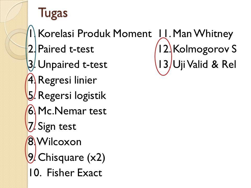 Tugas 1. Korelasi Produk Moment 11. Man Whitney 2. Paired t-test 12. Kolmogorov S 3. Unpaired t-test 13. Uji Valid & Rel 4. Regresi linier 5. Regersi