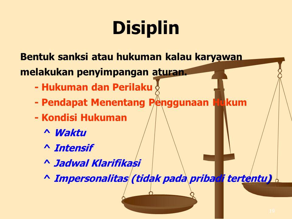 19 Disiplin Bentuk sanksi atau hukuman kalau karyawan melakukan penyimpangan aturan.