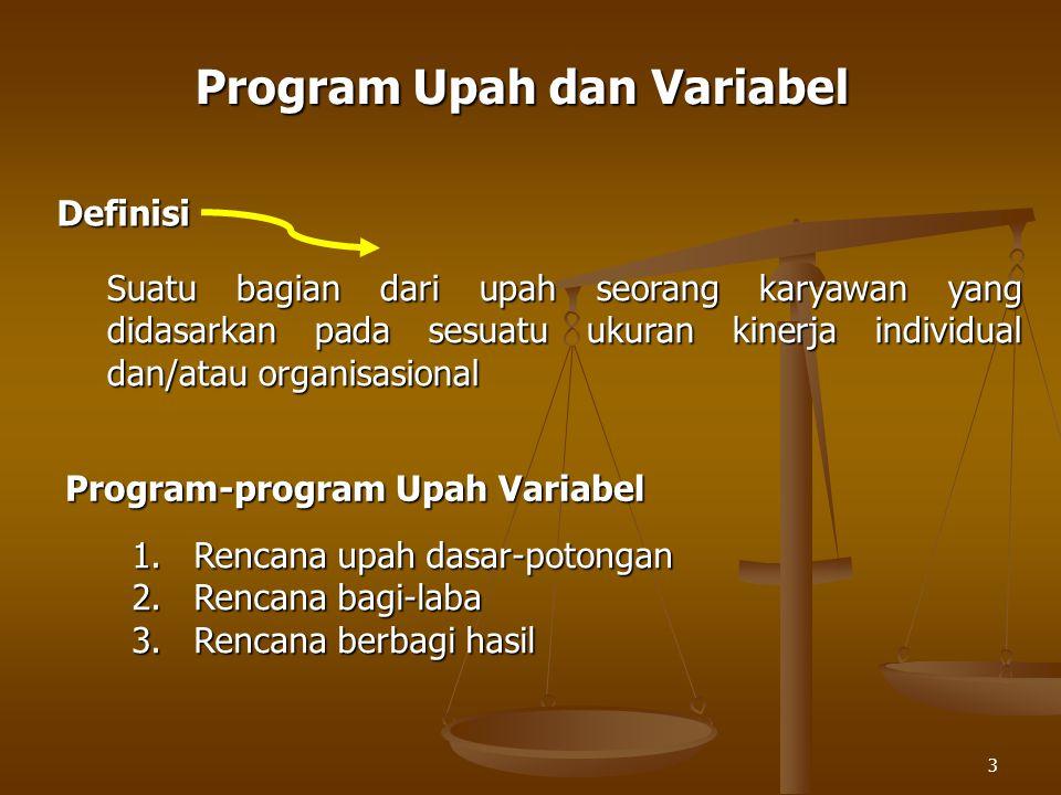 3 Program Upah dan Variabel Definisi Suatu bagian dari upah seorang karyawan yang didasarkan pada sesuatu ukuran kinerja individual dan/atau organisasional Program-program Upah Variabel 1.