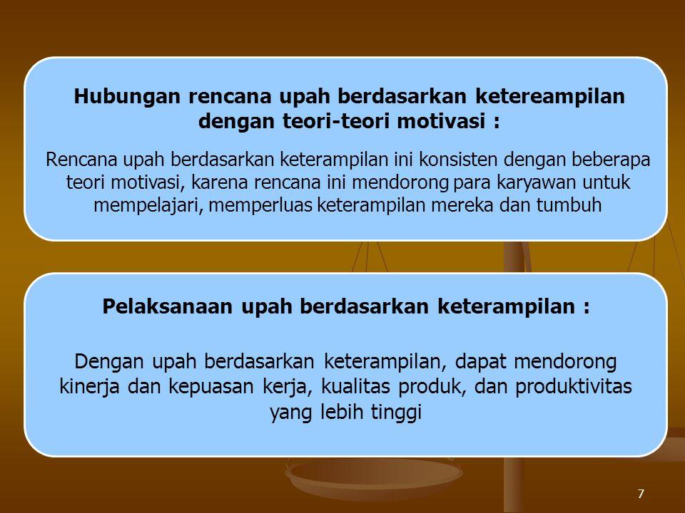 7 Hubungan rencana upah berdasarkan ketereampilan dengan teori-teori motivasi : Rencana upah berdasarkan keterampilan ini konsisten dengan beberapa teori motivasi, karena rencana ini mendorong para karyawan untuk mempelajari, memperluas keterampilan mereka dan tumbuh Pelaksanaan upah berdasarkan keterampilan : Dengan upah berdasarkan keterampilan, dapat mendorong kinerja dan kepuasan kerja, kualitas produk, dan produktivitas yang lebih tinggi