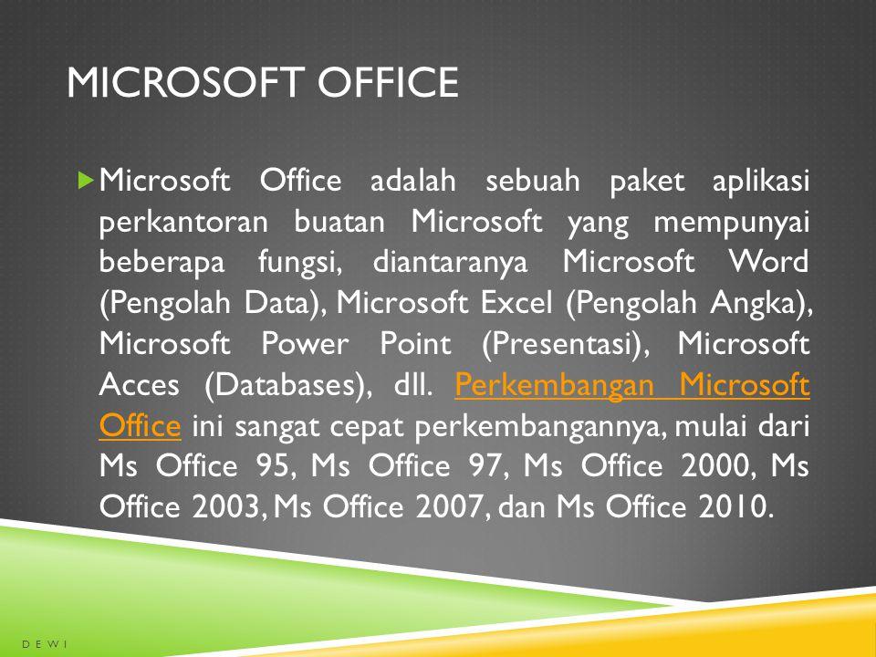 MICROSOFT OFFICE  Microsoft Office adalah sebuah paket aplikasi perkantoran buatan Microsoft yang mempunyai beberapa fungsi, diantaranya Microsoft Wo