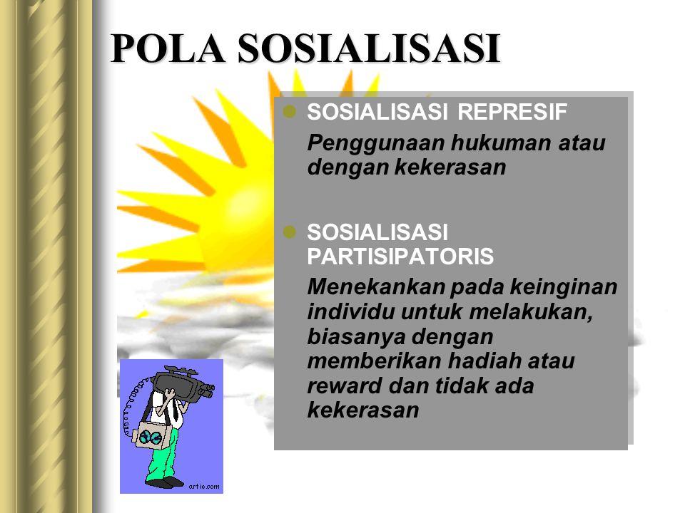 POLA SOSIALISASI SOSIALISASI REPRESIF Penggunaan hukuman atau dengan kekerasan SOSIALISASI PARTISIPATORIS Menekankan pada keinginan individu untuk melakukan, biasanya dengan memberikan hadiah atau reward dan tidak ada kekerasan SOSIALISASI REPRESIF Penggunaan hukuman atau dengan kekerasan SOSIALISASI PARTISIPATORIS Menekankan pada keinginan individu untuk melakukan, biasanya dengan memberikan hadiah atau reward dan tidak ada kekerasan