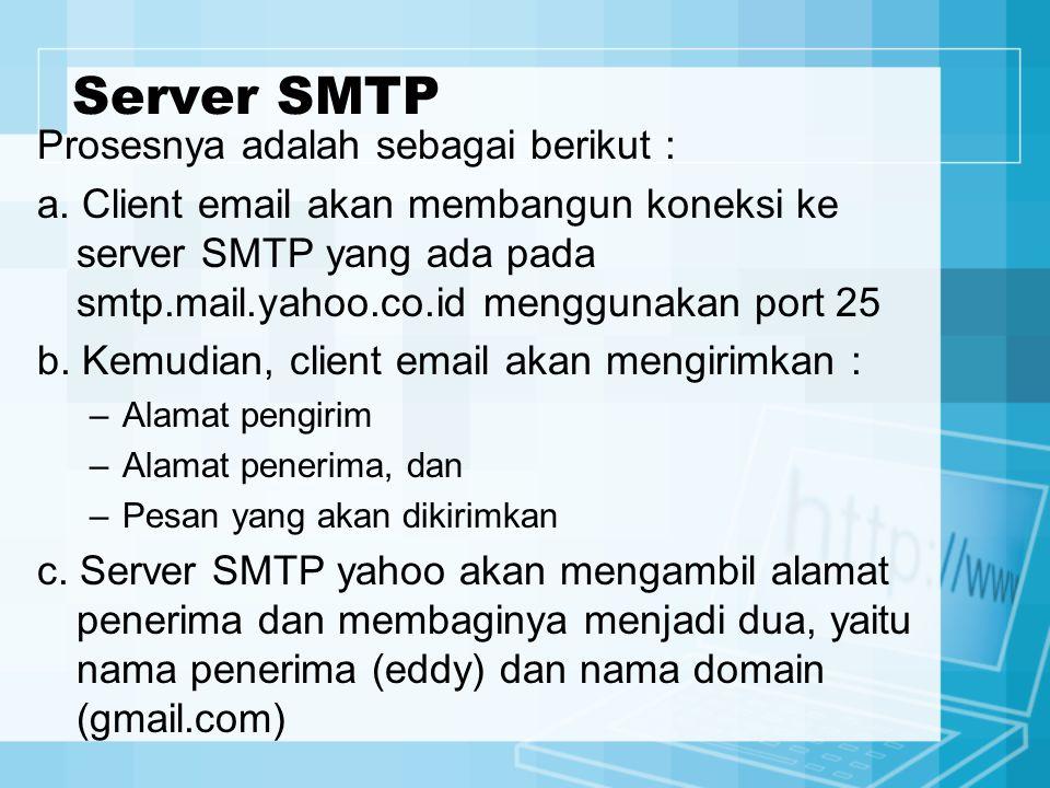 Server SMTP Prosesnya adalah sebagai berikut : a. Client email akan membangun koneksi ke server SMTP yang ada pada smtp.mail.yahoo.co.id menggunakan p