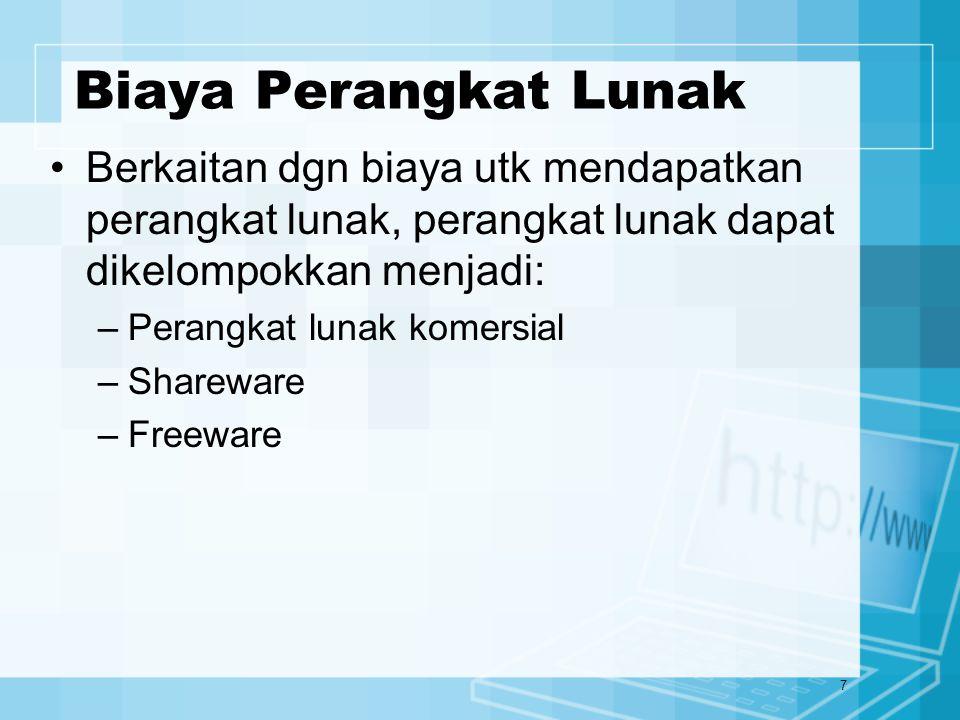7 Biaya Perangkat Lunak Berkaitan dgn biaya utk mendapatkan perangkat lunak, perangkat lunak dapat dikelompokkan menjadi: –Perangkat lunak komersial –Shareware –Freeware