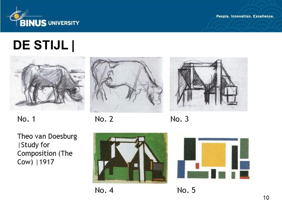 10 DE STIJL | Theo van Doesburg |Study for Composition (The Cow) |1917 No. 1No. 2No. 3 No. 4No. 5