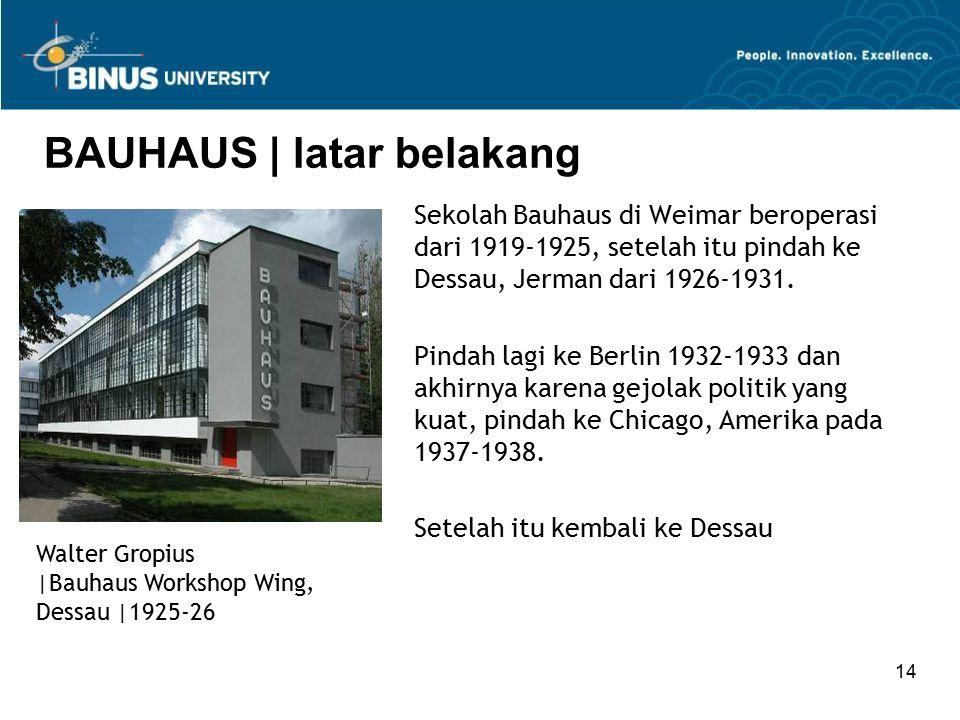 14 BAUHAUS | latar belakang Sekolah Bauhaus di Weimar beroperasi dari 1919-1925, setelah itu pindah ke Dessau, Jerman dari 1926-1931. Pindah lagi ke B