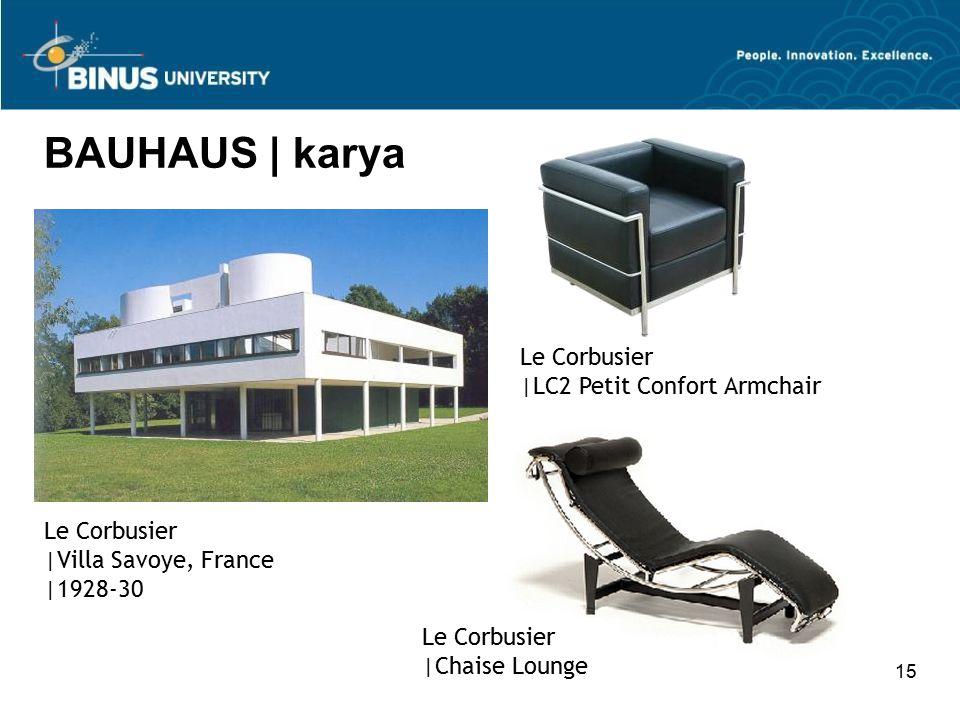 15 BAUHAUS | karya Le Corbusier |LC2 Petit Confort Armchair Le Corbusier |Villa Savoye, France |1928-30 Le Corbusier |Chaise Lounge