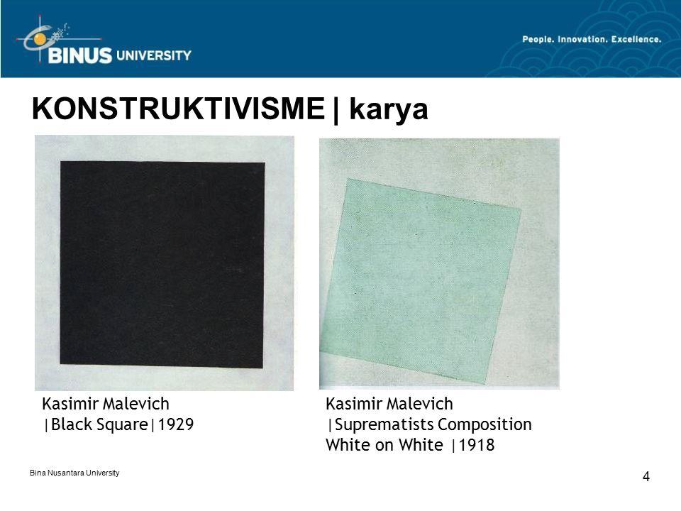 Bina Nusantara University 4 KONSTRUKTIVISME | karya Kasimir Malevich |Black Square|1929 Kasimir Malevich |Suprematists Composition White on White |191