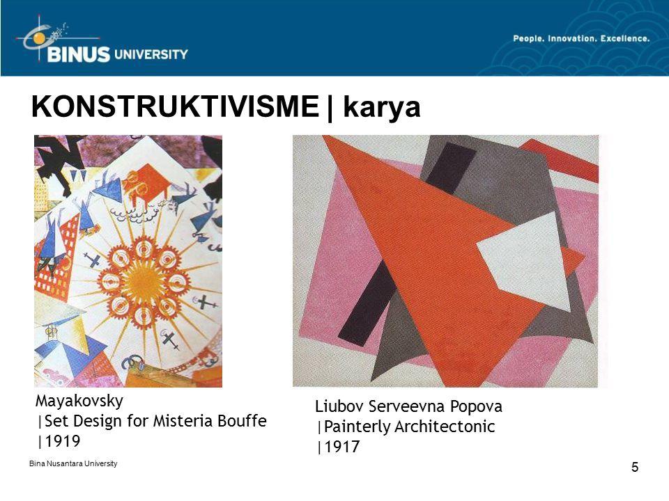 Bina Nusantara University 5 KONSTRUKTIVISME | karya Mayakovsky |Set Design for Misteria Bouffe |1919 Liubov Serveevna Popova |Painterly Architectonic